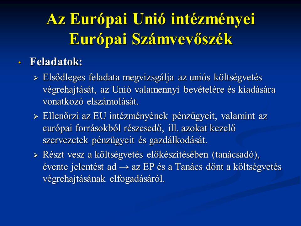 Az Európai Unió intézményei Európai Számvevőszék Feladatok: Feladatok:  Elsődleges feladata megvizsgálja az uniós költségvetés végrehajtását, az Unió