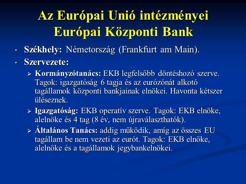 Az Európai Unió intézményei Európai Központi Bank Székhely: Németország (Frankfurt am Main). Székhely: Németország (Frankfurt am Main). Szervezete: Sz