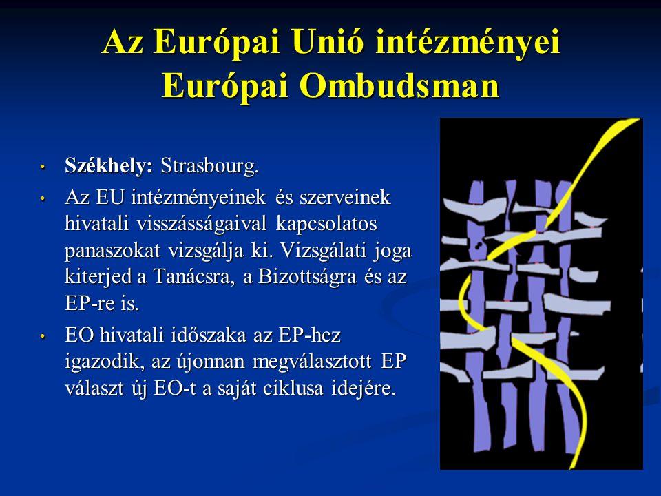 Az Európai Unió intézményei Európai Ombudsman Székhely: Strasbourg. Székhely: Strasbourg. Az EU intézményeinek és szerveinek hivatali visszásságaival