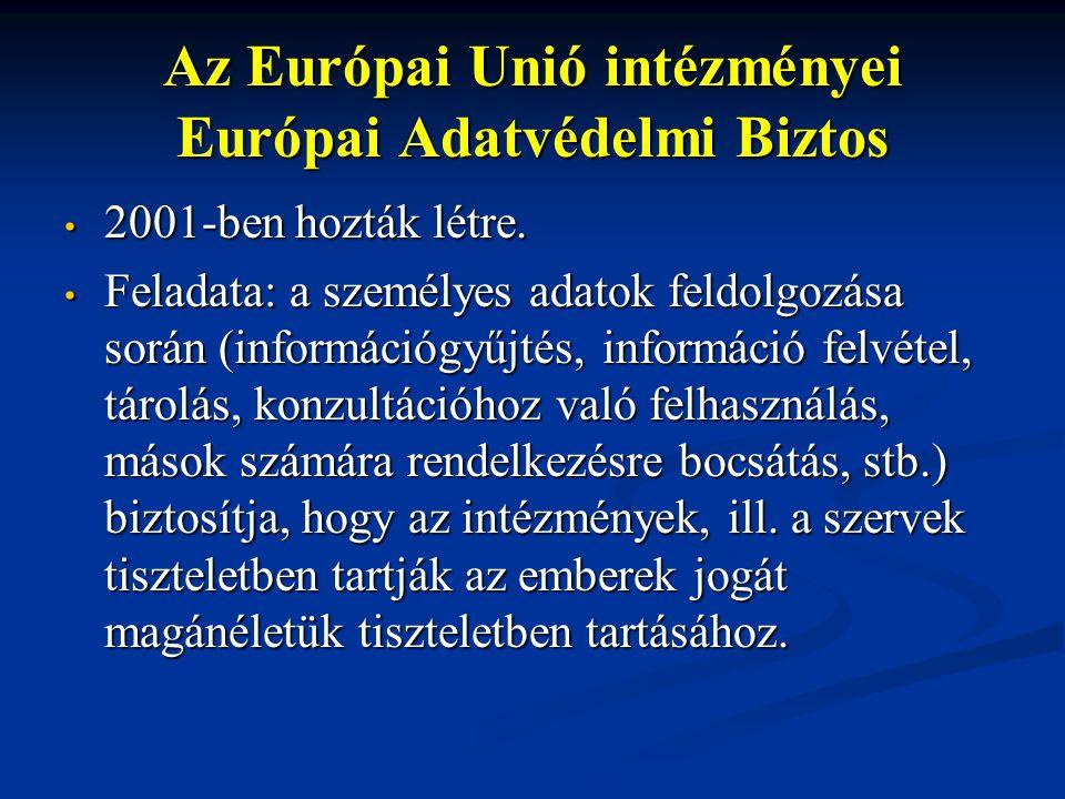 Az Európai Unió intézményei Európai Adatvédelmi Biztos 2001-ben hozták létre. 2001-ben hozták létre. Feladata: a személyes adatok feldolgozása során (