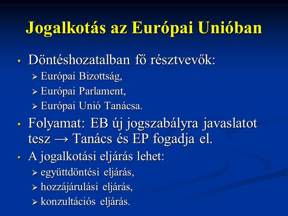 Jogalkotás az Európai Unióban Döntéshozatalban fő résztvevők: Döntéshozatalban fő résztvevők:  Európai Bizottság,  Európai Parlament,  Európai Unió