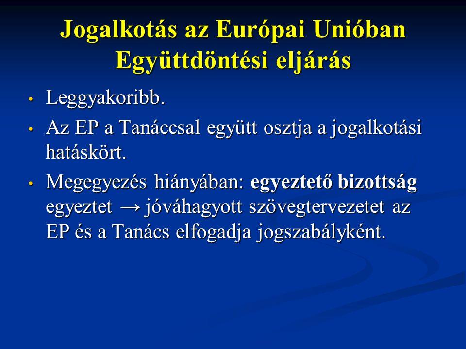 Jogalkotás az Európai Unióban Együttdöntési eljárás Leggyakoribb. Leggyakoribb. Az EP a Tanáccsal együtt osztja a jogalkotási hatáskört. Az EP a Tanác