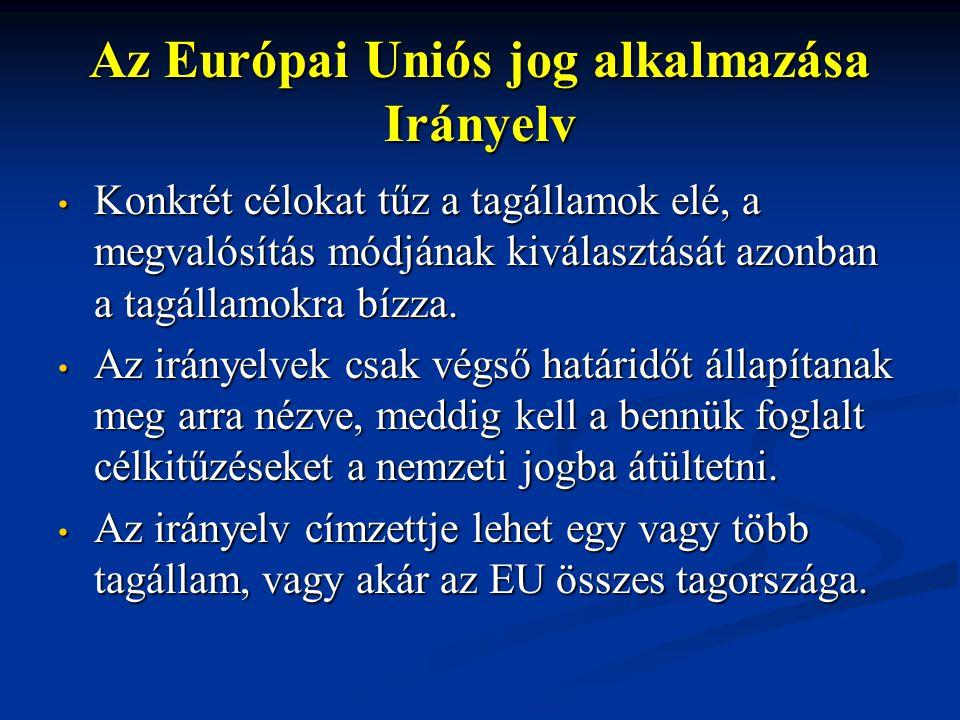 Az Európai Uniós jog alkalmazása Irányelv Konkrét célokat tűz a tagállamok elé, a megvalósítás módjának kiválasztását azonban a tagállamokra bízza.