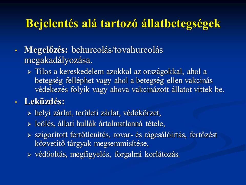 Bejelentés alá tartozó állatbetegségek Megelőzés: behurcolás/tovahurcolás megakadályozása. Megelőzés: behurcolás/tovahurcolás megakadályozása.  Tilos