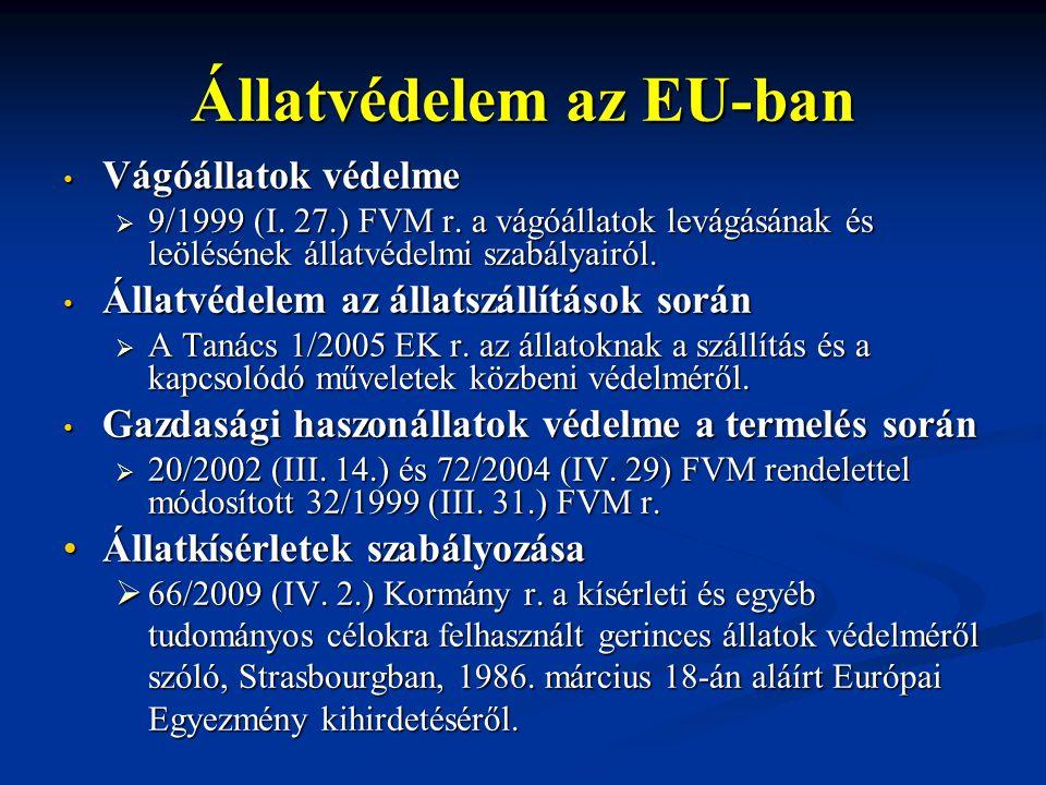 Állatvédelem az EU-ban Vágóállatok védelme Vágóállatok védelme  9/1999 (I. 27.) FVM r. a vágóállatok levágásának és leölésének állatvédelmi szabályai