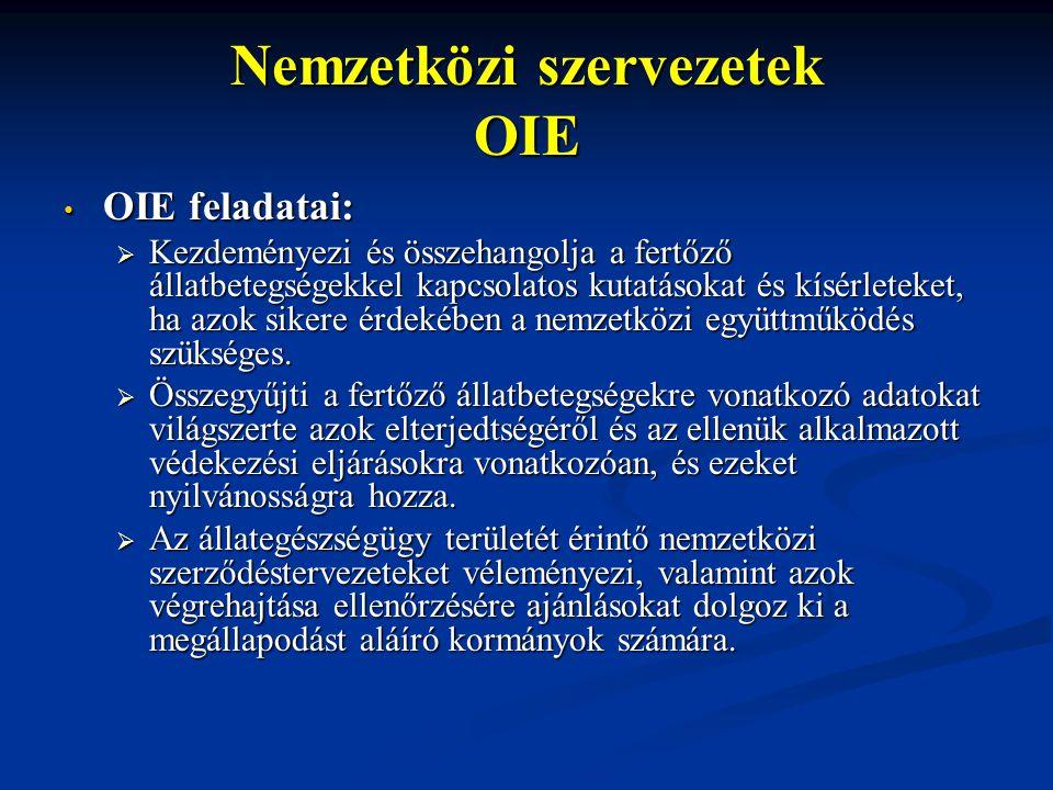 Nemzetközi szervezetek OIE OIE feladatai: OIE feladatai:  Kezdeményezi és összehangolja a fertőző állatbetegségekkel kapcsolatos kutatásokat és kísér