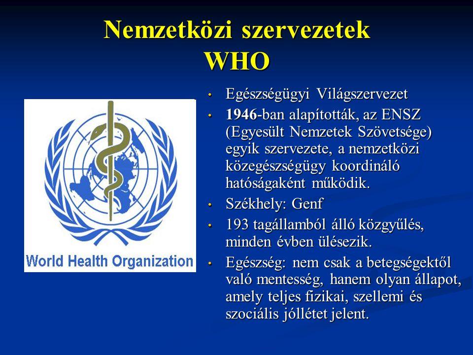 Nemzetközi szervezetek WHO Egészségügyi Világszervezet 1946-ban alapították, az ENSZ (Egyesült Nemzetek Szövetsége) egyik szervezete, a nemzetközi közegészségügy koordináló hatóságaként működik.
