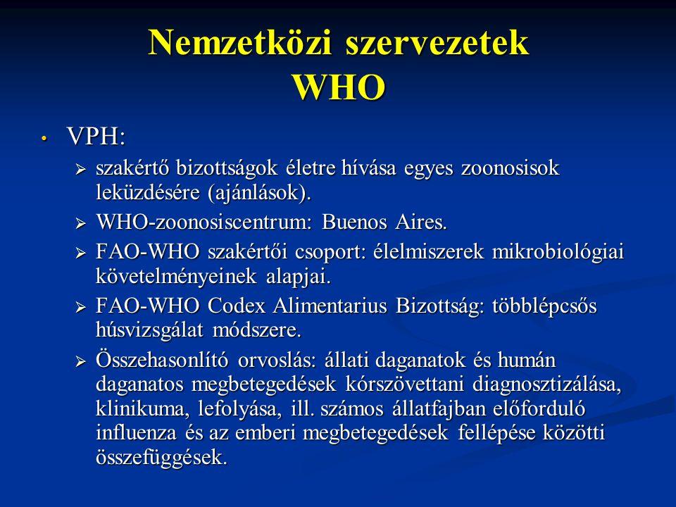 Nemzetközi szervezetek WHO VPH: VPH:  szakértő bizottságok életre hívása egyes zoonosisok leküzdésére (ajánlások).  WHO-zoonosiscentrum: Buenos Aire