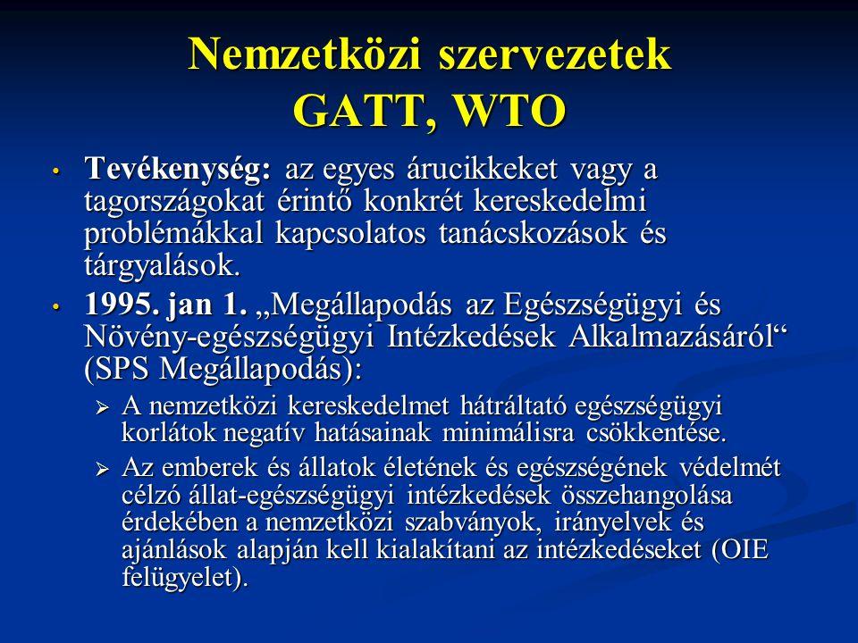 Nemzetközi szervezetek GATT, WTO Tevékenység: az egyes árucikkeket vagy a tagországokat érintő konkrét kereskedelmi problémákkal kapcsolatos tanácskoz