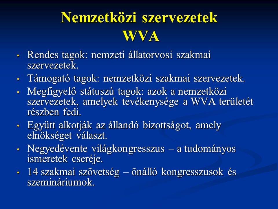 Nemzetközi szervezetek WVA Rendes tagok: nemzeti állatorvosi szakmai szervezetek. Rendes tagok: nemzeti állatorvosi szakmai szervezetek. Támogató tago