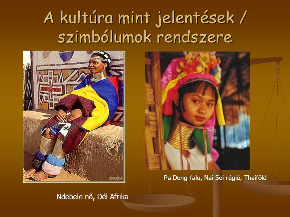 A kultúra mint jelentések / szimbólumok rendszere Ndebele nő, Dél Afrika Pa Dong falu, Nai Soi régió, Thaiföld