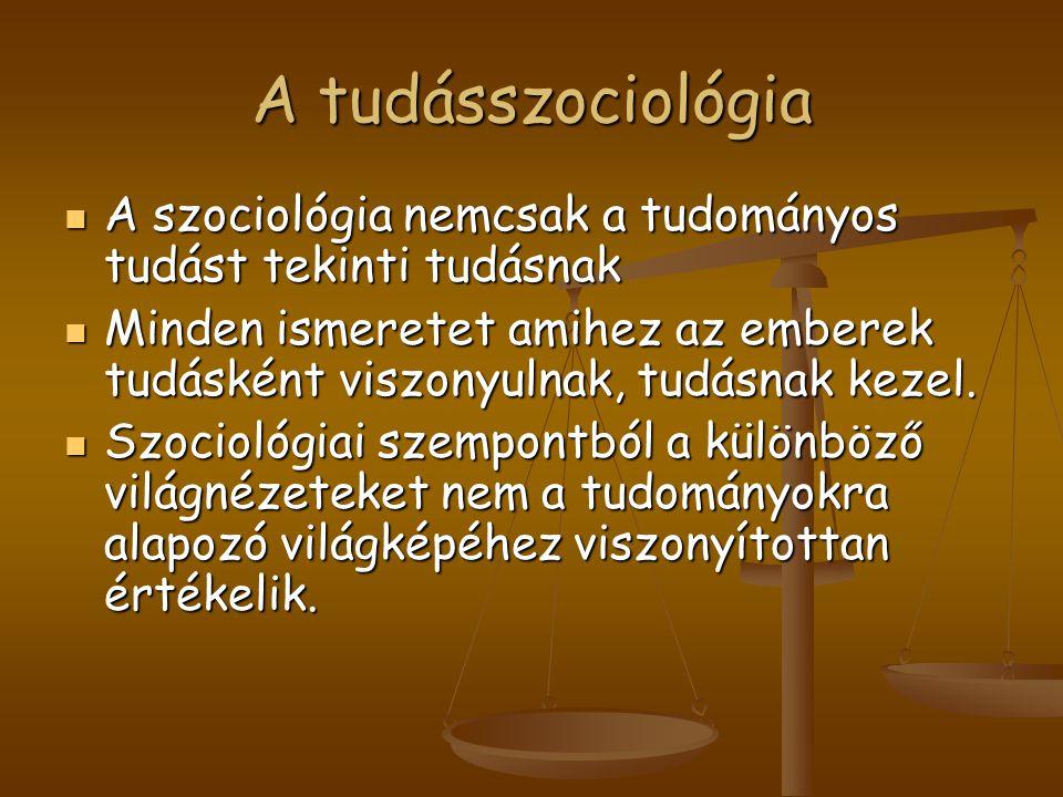A tudásszociológia A szociológia nemcsak a tudományos tudást tekinti tudásnak A szociológia nemcsak a tudományos tudást tekinti tudásnak Minden ismere