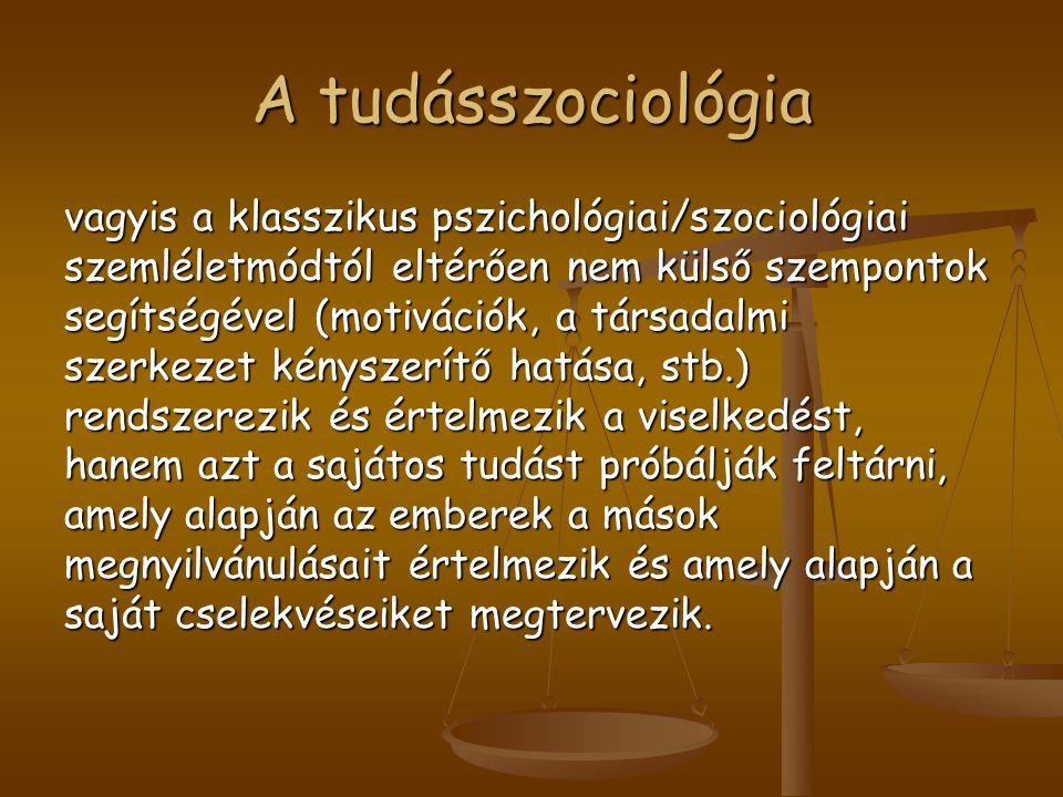 A tudásszociológia vagyis a klasszikus pszichológiai/szociológiai szemléletmódtól eltérően nem külső szempontok segítségével (motivációk, a társadalmi