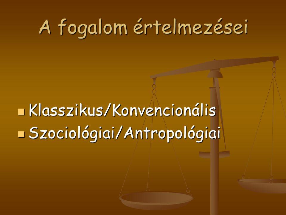 A fogalom értelmezései Klasszikus/Konvencionális Klasszikus/Konvencionális Szociológiai/Antropológiai Szociológiai/Antropológiai
