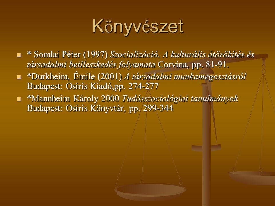 K ö nyv é szet * Somlai Péter (1997) Szocializáció. A kulturális átörökítés és társadalmi beilleszkedés folyamata Corvina, pp. 81-91. * Somlai Péter (
