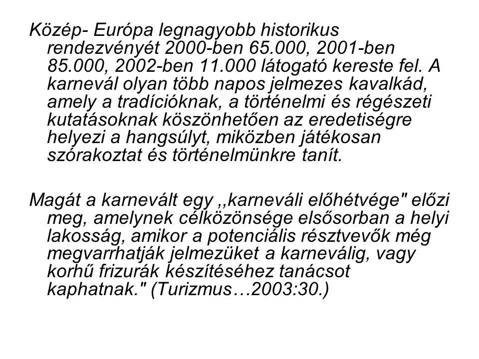 Közép- Európa legnagyobb historikus rendezvényét 2000-ben 65.000, 2001-ben 85.000, 2002-ben 11.000 látogató kereste fel. A karnevál olyan több napos j