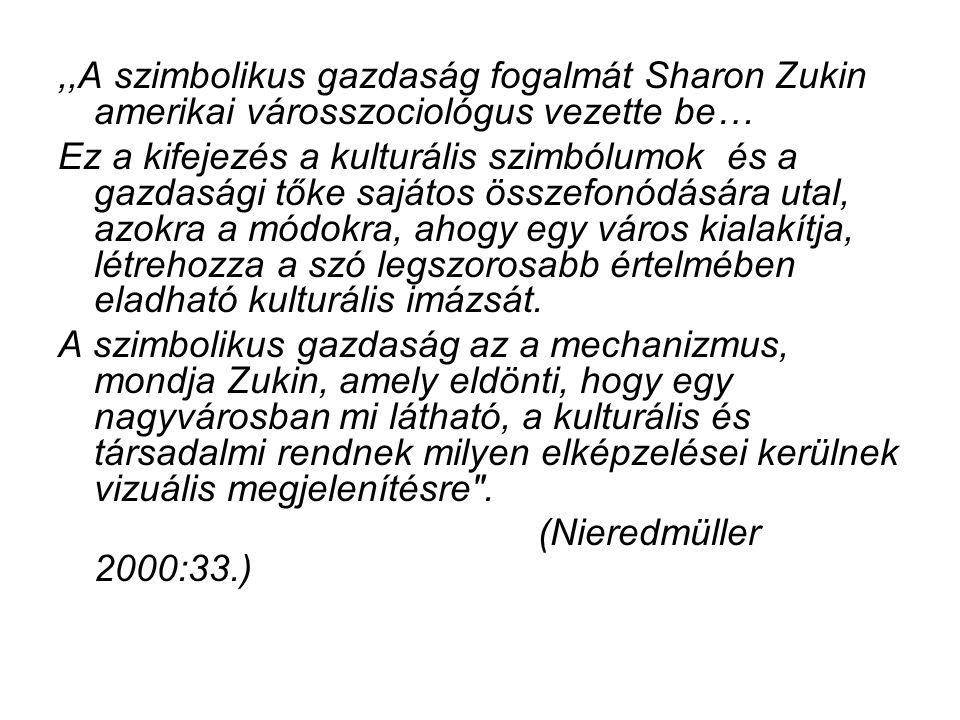 ,,A szimbolikus gazdaság fogalmát Sharon Zukin amerikai városszociológus vezette be… Ez a kifejezés a kulturális szimbólumok és a gazdasági tőke saját
