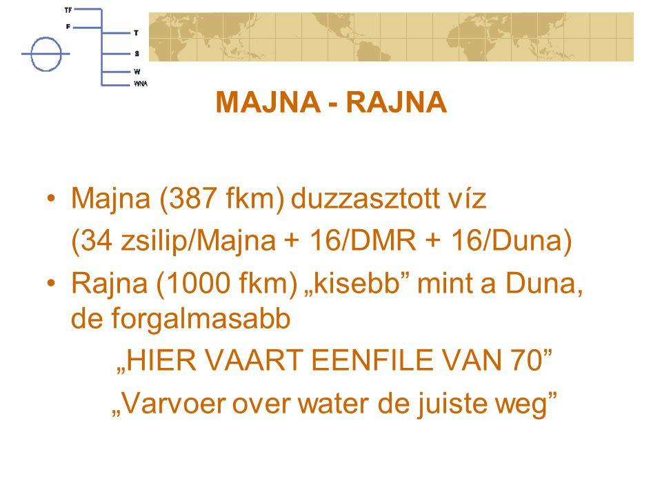 """MAJNA - RAJNA Majna (387 fkm) duzzasztott víz (34 zsilip/Majna + 16/DMR + 16/Duna) Rajna (1000 fkm) """"kisebb"""" mint a Duna, de forgalmasabb """"HIER VAART"""