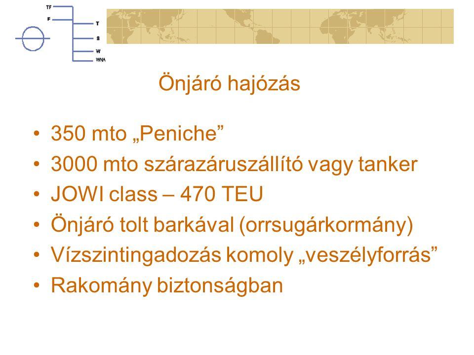"""Önjáró hajózás 350 mto """"Peniche"""" 3000 mto szárazáruszállító vagy tanker JOWI class – 470 TEU Önjáró tolt barkával (orrsugárkormány) Vízszintingadozás"""