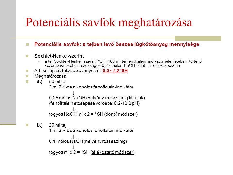 Az aktuális savfok meghatározása Aktuális savfok = pH: a tejben pillanatnyilag jelen levő hidrogén-ionok mennyisége Szabványos értéke: 6,5-6,45 Mérése: Indikátor papír (tájékoztató) Elektrometriás pH mérés (pH mérő műszer) Bizonyos határok között a tej aktuális és potenciális savfoka között fordított összefüggés van: ha a pH csökken → a potenciális savfok nő