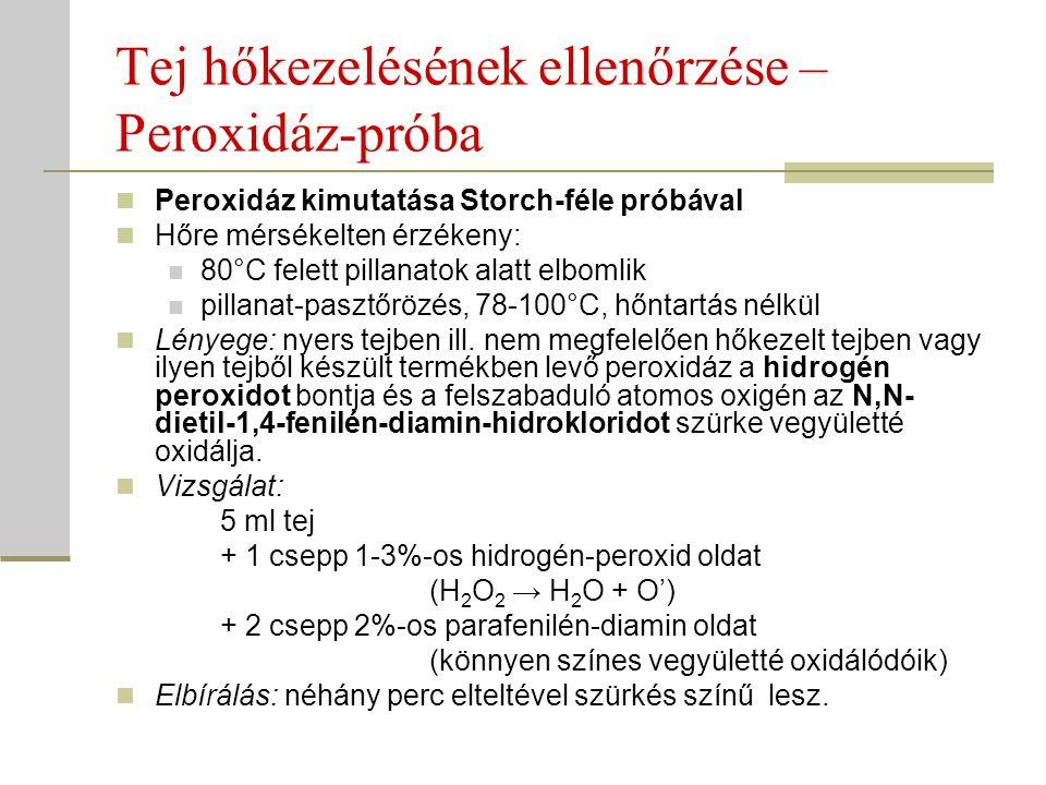 Tej hőkezelésének ellenőrzése – Peroxidáz-próba Peroxidáz kimutatása Storch-féle próbával Hőre mérsékelten érzékeny: 80°C felett pillanatok alatt elbo