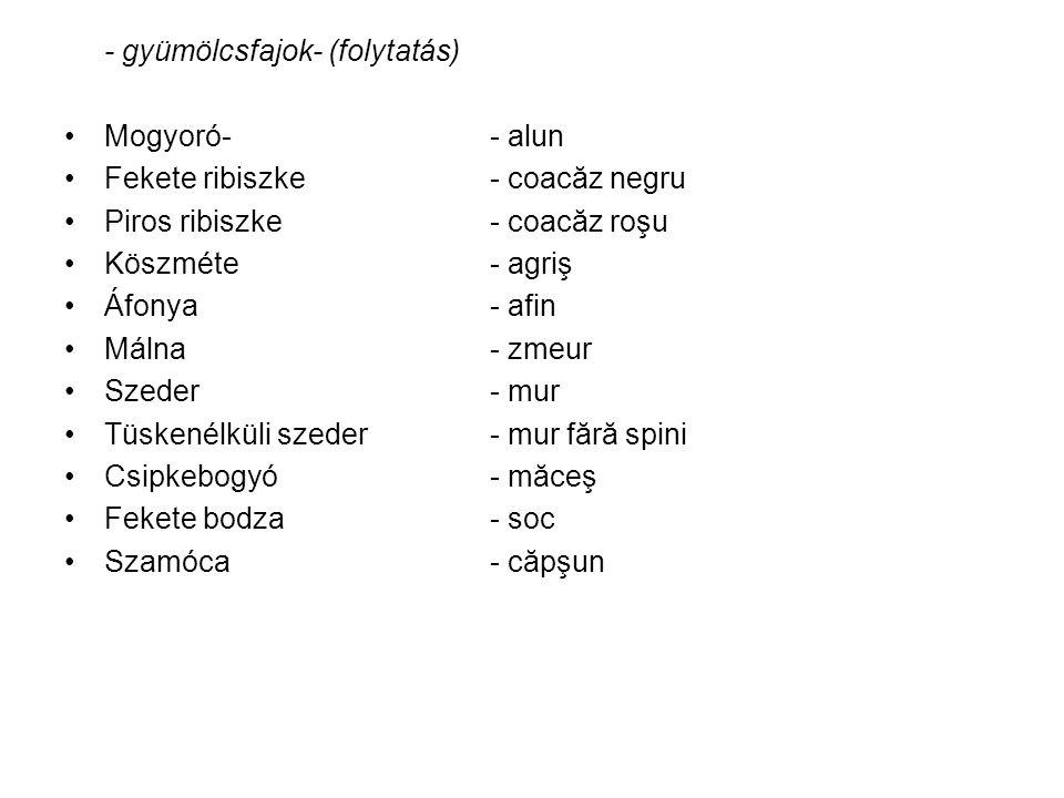 GyümölcsfajtákSoiuri de pomi fructiferi Például:De exemplu: Almafajtáksoiuri de măr Körtefajtáksoiuri de păr Birsfajtáksoiuri de gutui Szilvafajták, stbsoiuri de prun, etc.