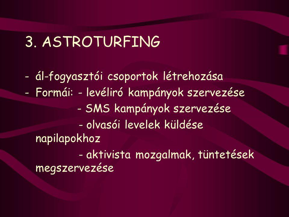 3. ASTROTURFING -ál-fogyasztói csoportok létrehozása -Formái: - levéliró kampányok szervezése - SMS kampányok szervezése - olvasói levelek küldése nap