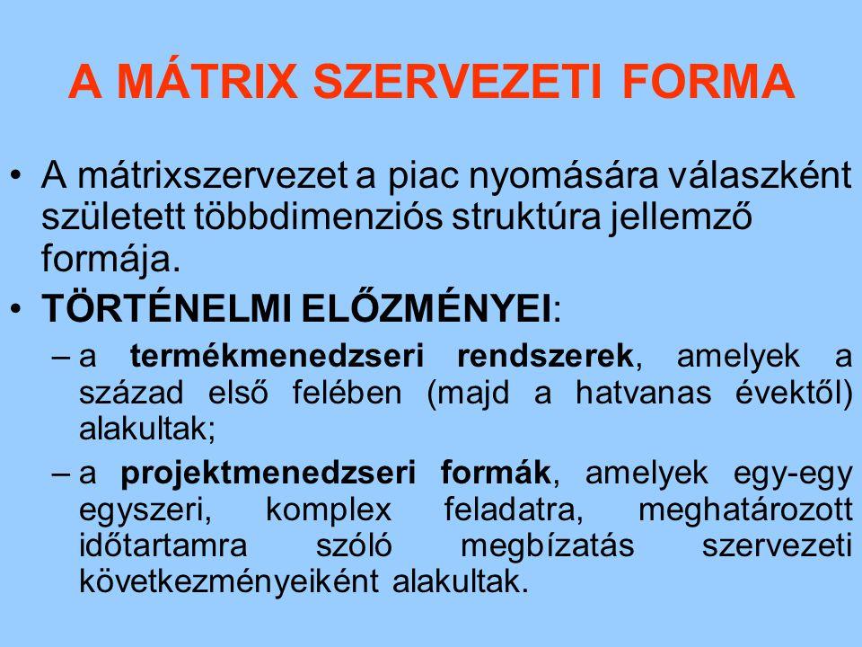 A MÁTRIX SZERVEZETI FORMA A mátrixszervezet a piac nyomására válaszként született többdimenziós struktúra jellemző formája. TÖRTÉNELMI ELŐZMÉNYEI: –a