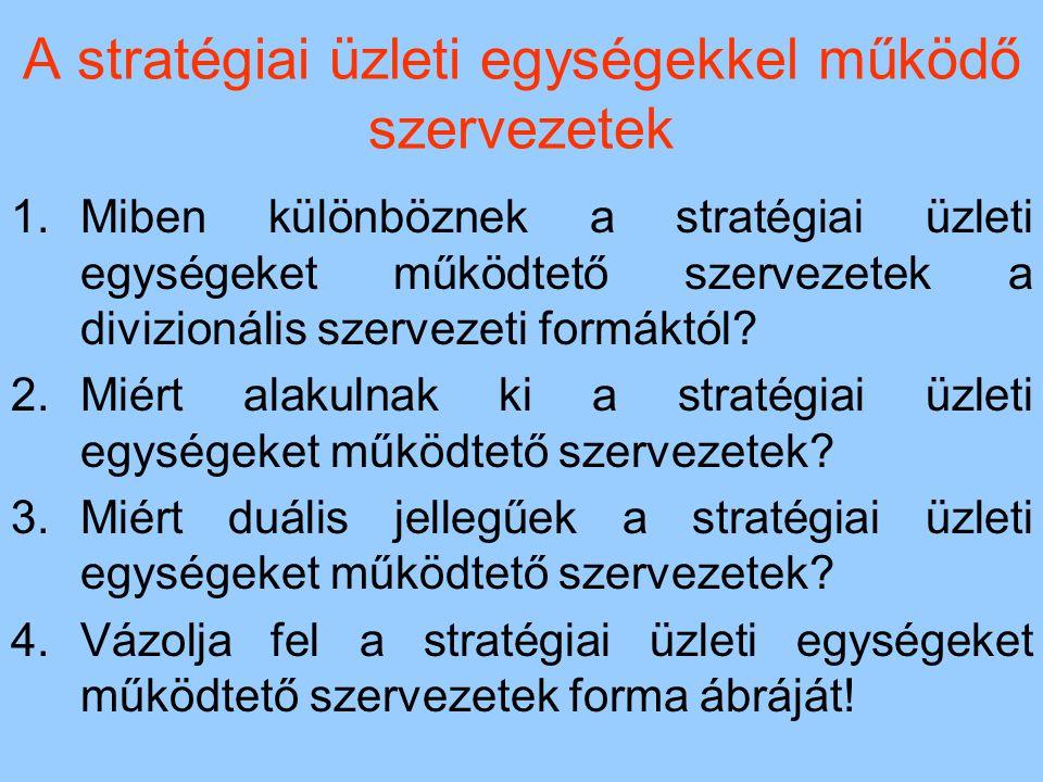 A stratégiai üzleti egységekkel működő szervezetek 1.Miben különböznek a stratégiai üzleti egységeket működtető szervezetek a divizionális szervezeti