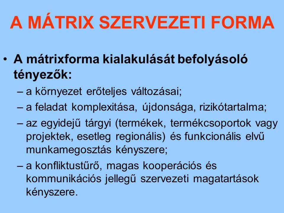 A MÁTRIX SZERVEZETI FORMA A mátrixforma legfontosabb jellemzői E szervezeteknél a dinamikus környezeti változásokra való sikeres adaptáció lehetősége adott.