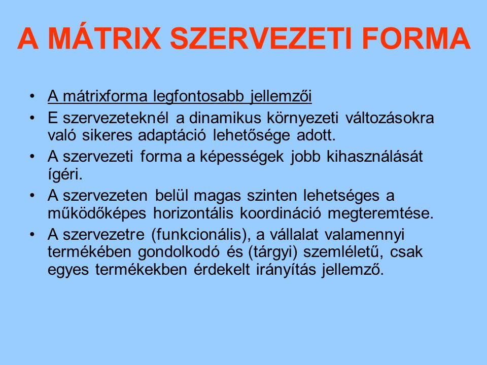 A MÁTRIX SZERVEZETI FORMA A döntéseket a két különböző munkamegosztási elv alapján kialakított szervezeti egység vezetői együttesen hozzák.