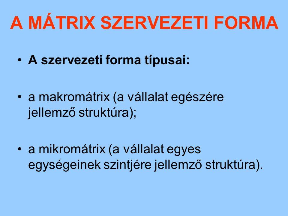 A MÁTRIX SZERVEZETI FORMA Honnan kapta a nevét a mátrix szervezeti forma.