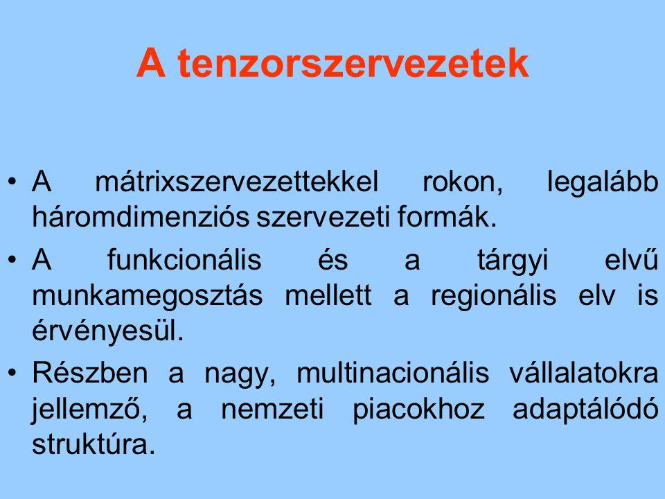 A tenzorszervezetek A mátrixszervezettekkel rokon, legalább háromdimenziós szervezeti formák. A funkcionális és a tárgyi elvű munkamegosztás mellett a