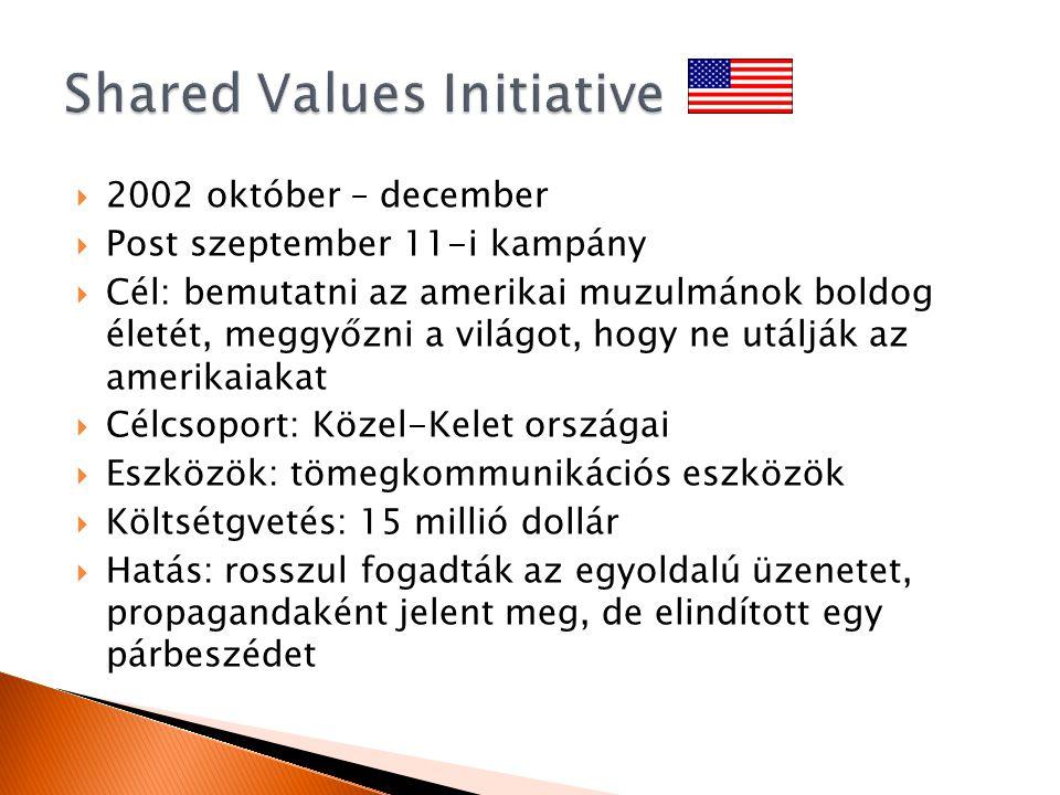  2002 október – december  Post szeptember 11-i kampány  Cél: bemutatni az amerikai muzulmánok boldog életét, meggyőzni a világot, hogy ne utálják az amerikaiakat  Célcsoport: Közel-Kelet országai  Eszközök: tömegkommunikációs eszközök  Költsétgvetés: 15 millió dollár  Hatás: rosszul fogadták az egyoldalú üzenetet, propagandaként jelent meg, de elindított egy párbeszédet