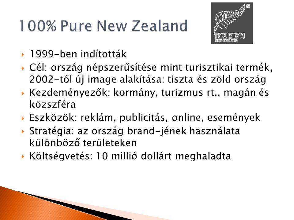  1999-ben indították  Cél: ország népszerűsítése mint turisztikai termék, 2002-től új image alakítása: tiszta és zöld ország  Kezdeményezők: kormány, turizmus rt., magán és közszféra  Eszközök: reklám, publicitás, online, események  Stratégia: az ország brand-jének használata különböző területeken  Költségvetés: 10 millió dollárt meghaladta