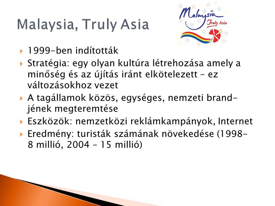  1999-ben indították  Stratégia: egy olyan kultúra létrehozása amely a minőség és az újítás iránt elkötelezett – ez változásokhoz vezet  A tagállamok közös, egységes, nemzeti brand- jének megteremtése  Eszközök: nemzetközi reklámkampányok, Internet  Eredmény: turisták számának növekedése (1998- 8 millió, 2004 – 15 millió)