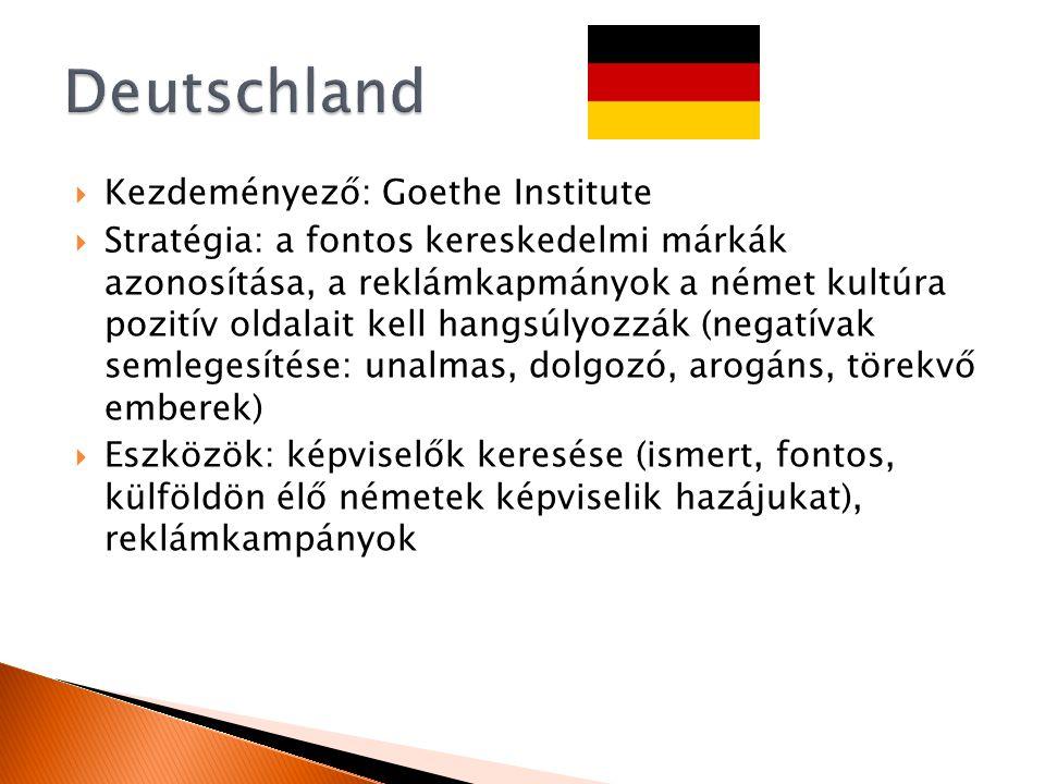  Kezdeményező: Goethe Institute  Stratégia: a fontos kereskedelmi márkák azonosítása, a reklámkapmányok a német kultúra pozitív oldalait kell hangsúlyozzák (negatívak semlegesítése: unalmas, dolgozó, arogáns, törekvő emberek)  Eszközök: képviselők keresése (ismert, fontos, külföldön élő németek képviselik hazájukat), reklámkampányok