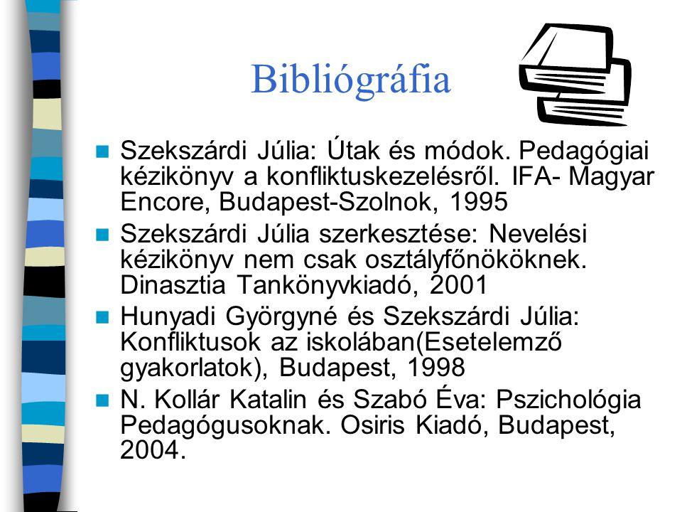 Bibliógráfia Szekszárdi Júlia: Útak és módok. Pedagógiai kézikönyv a konfliktuskezelésről. IFA- Magyar Encore, Budapest-Szolnok, 1995 Szekszárdi Júlia