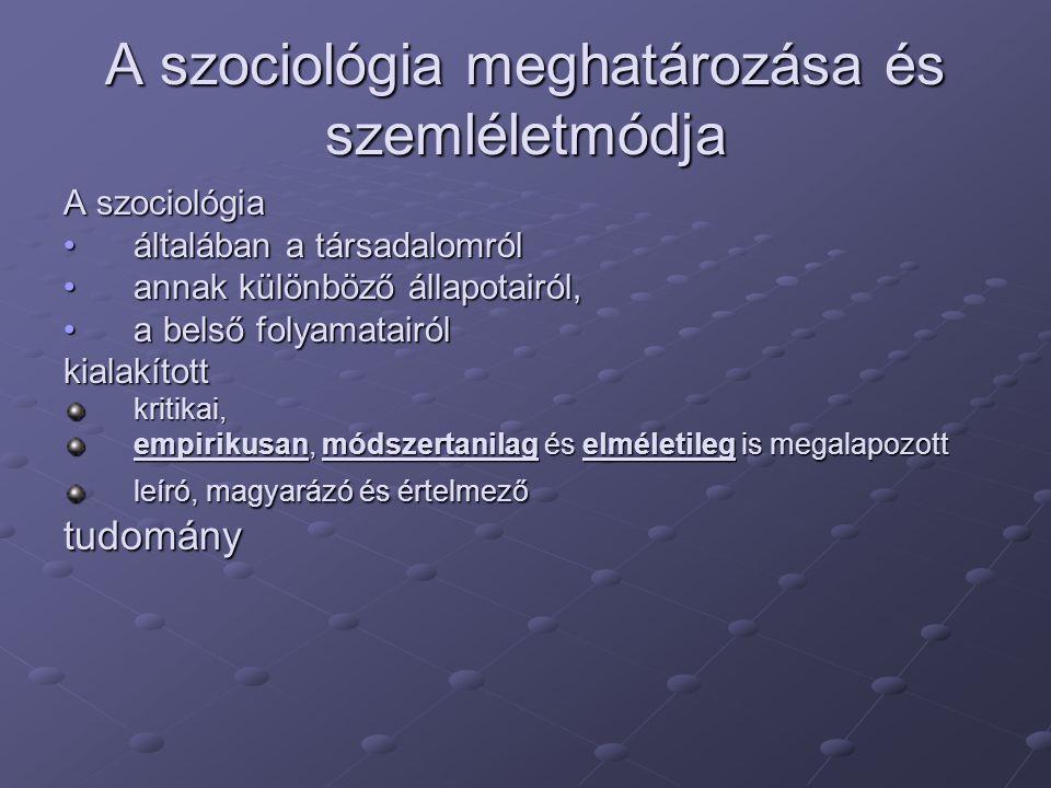 A szociológia meghatározása és szemléletmódja A szociológia általában a társadalomróláltalában a társadalomról annak különböző állapotairól,annak különböző állapotairól, a belső folyamatairóla belső folyamatairólkialakítottkritikai, empirikusan, módszertanilag és elméletileg is megalapozott leíró, magyarázó és értelmező tudomány