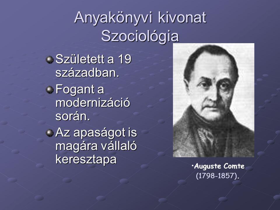Anyakönyvi kivonat Szociológia Született a 19 században. Fogant a modernizáció során. Az apaságot is magára vállaló keresztapa Auguste Comte (1798-185