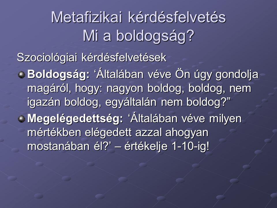 Metafizikai kérdésfelvetés Mi a boldogság.