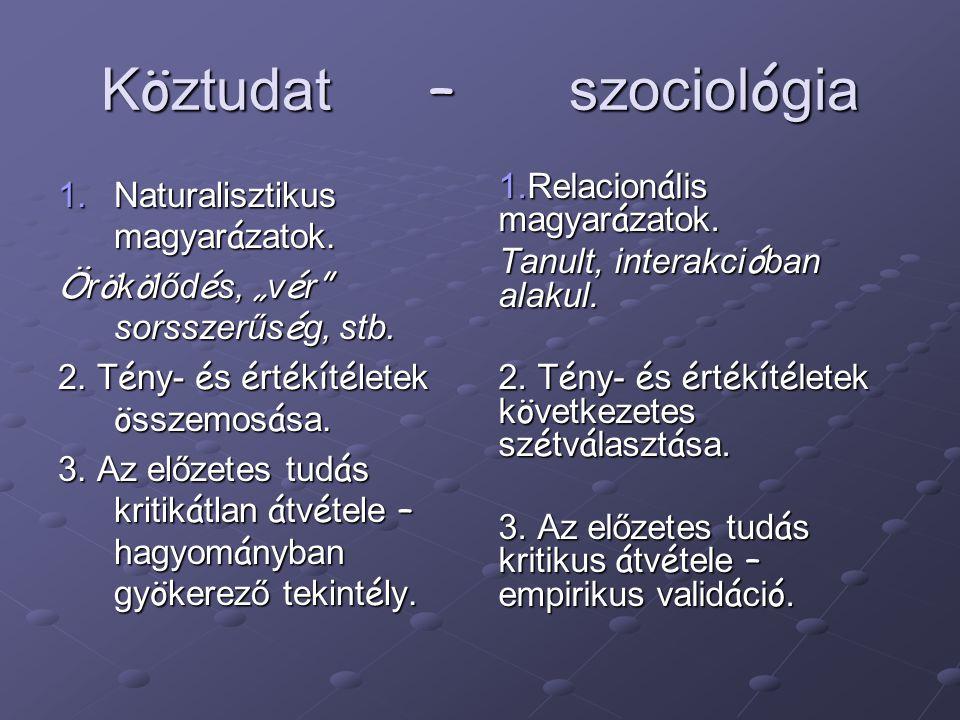 K ö ztudat – szociol ó gia 1.Naturalisztikus magyar á zatok.