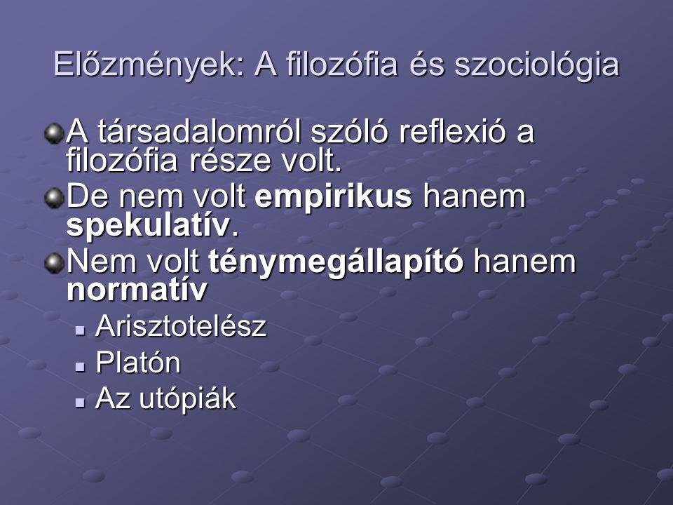 Előzmények: A filozófia és szociológia A társadalomról szóló reflexió a filozófia része volt.