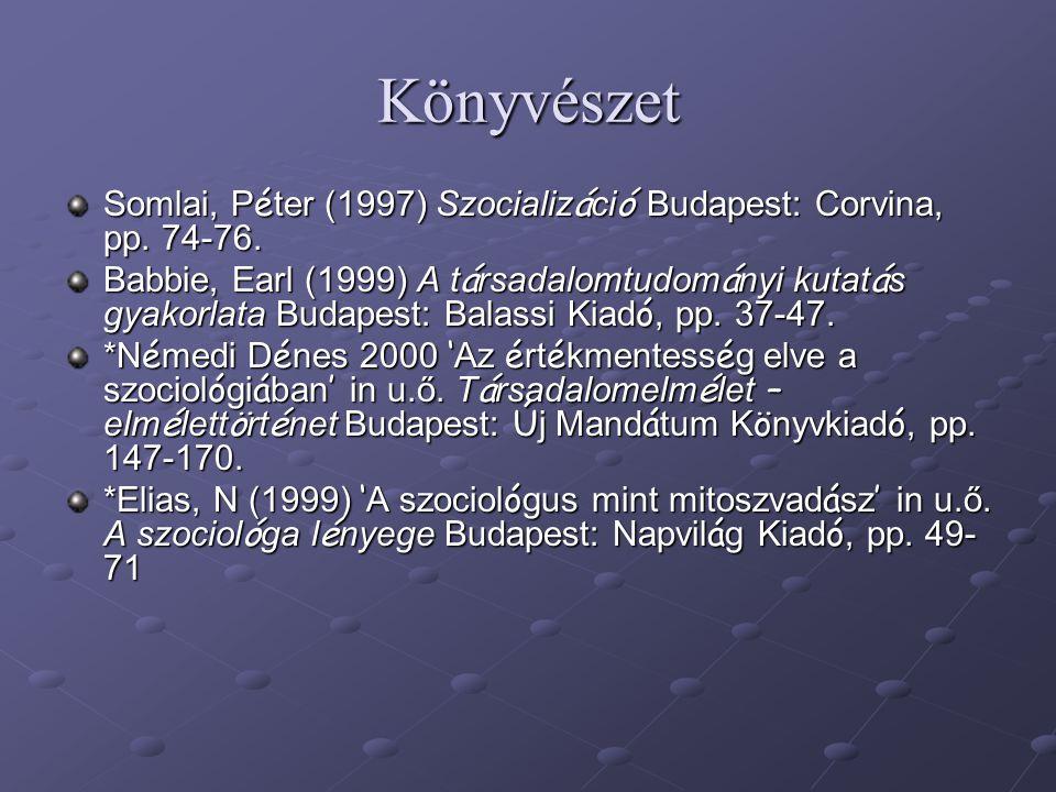 Könyvészet Somlai, P é ter (1997) Szocializ á ci ó Budapest: Corvina, pp. 74-76. Babbie, Earl (1999) A t á rsadalomtudom á nyi kutat á s gyakorlata Bu