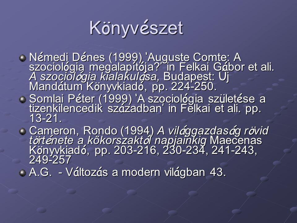 K ö nyv é szet N é medi D é nes (1999) ' Auguste Comte: A szociol ó gia megalap í t ó ja? ' in Felkai G á bor et ali. A szociol ó gia kialakul á sa, B
