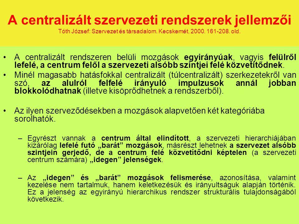 A centralizált szervezeti rendszerek jellemzői Tóth József: Szervezet és társadalom.