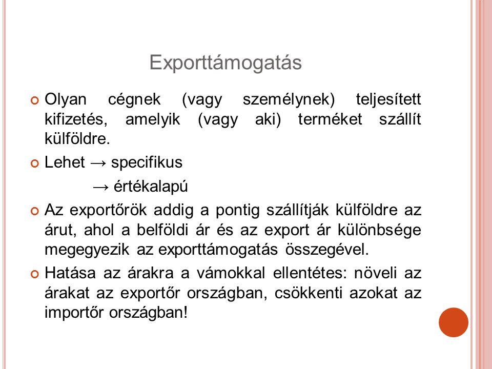 Exporttámogatás Olyan cégnek (vagy személynek) teljesített kifizetés, amelyik (vagy aki) terméket szállít külföldre. Lehet → specifikus → értékalapú A