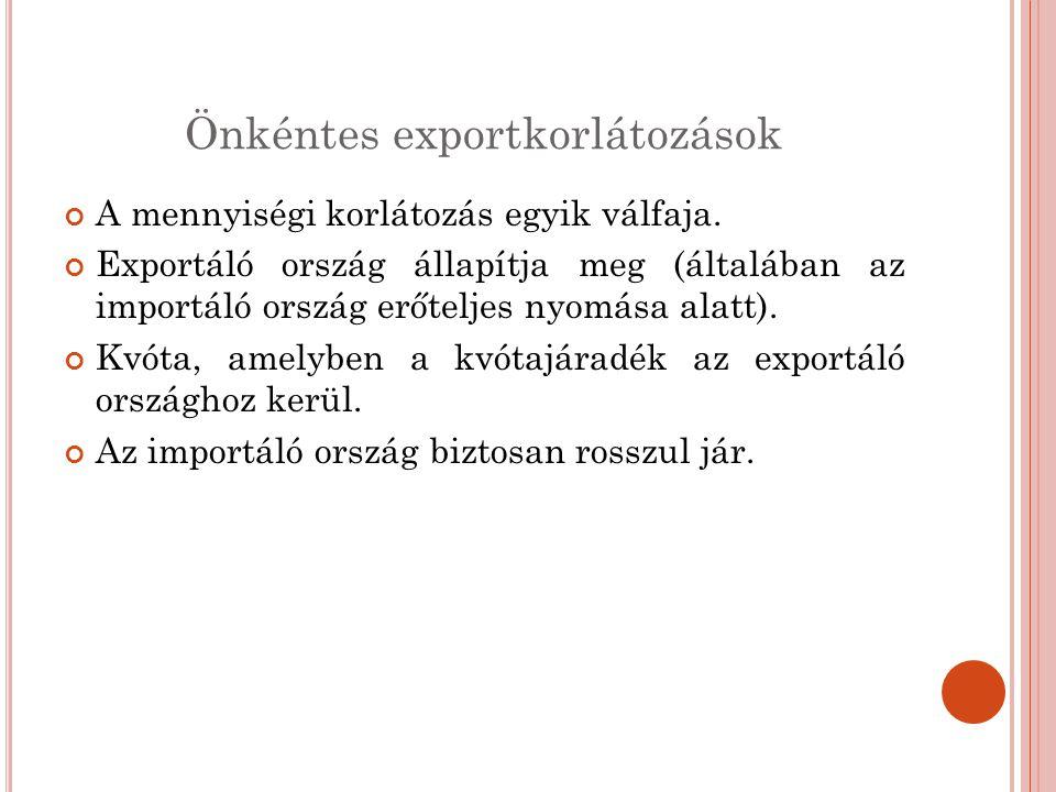 Önkéntes exportkorlátozások A mennyiségi korlátozás egyik válfaja. Exportáló ország állapítja meg (általában az importáló ország erőteljes nyomása ala