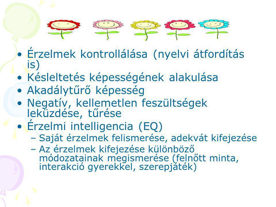 Érzelmek kontrollálása (nyelvi átfordítás is) Késleltetés képességének alakulása Akadálytűrő képesség Negatív, kellemetlen feszültségek leküzdése, tűrése Érzelmi intelligencia (EQ) –Saját érzelmek felismerése, adekvát kifejezése –Az érzelmek kifejezése különböző módozatainak megismerése (felnőtt minta, interakció gyerekkel, szerepjáték)