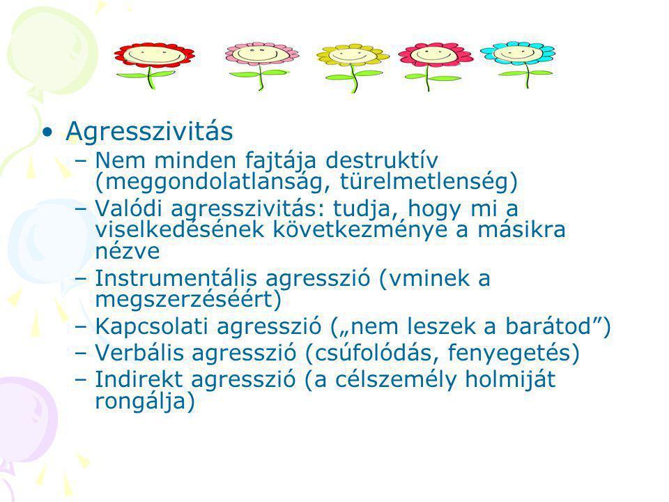 """Agresszivitás –Nem minden fajtája destruktív (meggondolatlanság, türelmetlenség) –Valódi agresszivitás: tudja, hogy mi a viselkedésének következménye a másikra nézve –Instrumentális agresszió (vminek a megszerzéséért) –Kapcsolati agresszió (""""nem leszek a barátod ) –Verbális agresszió (csúfolódás, fenyegetés) –Indirekt agresszió (a célszemély holmiját rongálja)"""